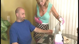 Amateur guy explodes while mature blonde Crystal Jewels strokes him
