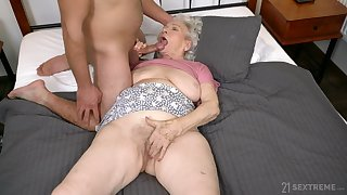 Dirty granny Norma B spreads will not hear of legs to be fucked by a stud