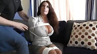 Buxomy housewife gets immensely crazy when she gets corded back and left on the floor