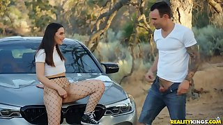 18 y.o. tart Aria Lee gets fucked outdoors by means of a car trip