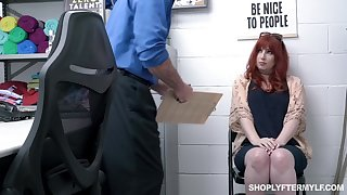 Non-restricted ginger milf Amber Dawn gets punished for shoplifting