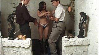 German mature fit together loves to be fucked away from two stir up hard peckers