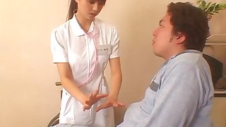 Japanese carefulness drops her panties to ride her patient's awkward load of shit