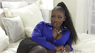 Weasel words hungry ebony pornstar Osa Lovely fucked at the end of one's tether a white monster