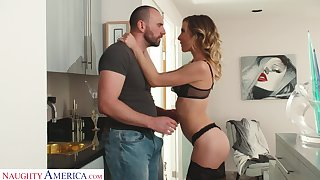 Stunning join in matrimony in sexy underwear Aiden Ashley meets their way husband from work