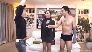 Small boobs Maki Mizusawa kissed and fucked by four amateur dudes