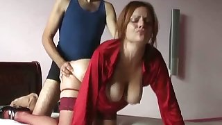 Busty amateur peppery haired wife of my buddy loves just now hard doggy